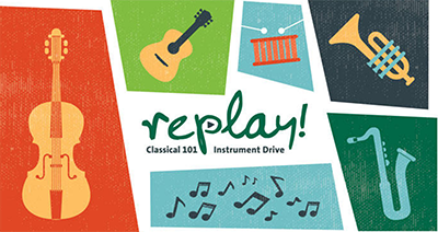 Classical 101's Replay! instrument drive logo